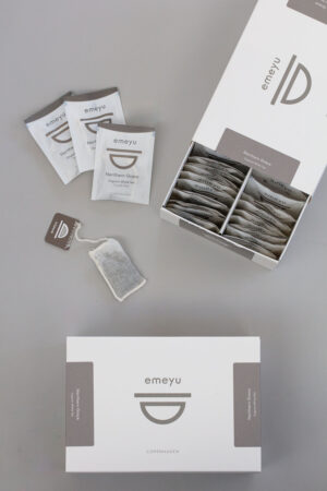 Northern Grace organic white tea, 50 hand sewn cotton teabags in a elegant and sustainable box.