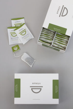 Eight Butterflies organic green tea, 50 cotton teabags in a sustainable box.