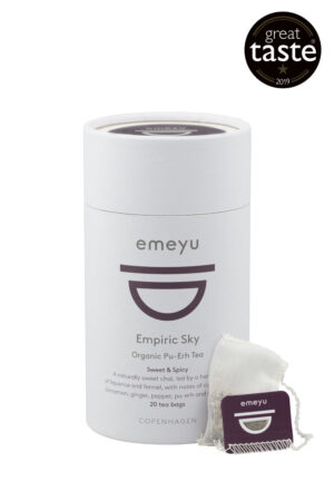 Empiric Sky organic Chai tea with spices and Puerh tea in 20 cotton teabags microplastfree and GMO-free in sustainable packaging