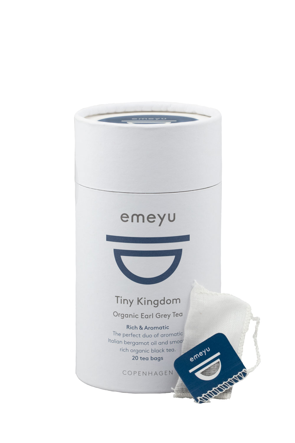 Tiny Kingdom organic Earl Grey tea in cotton and microplastic-free teabags and sustainable packaging.