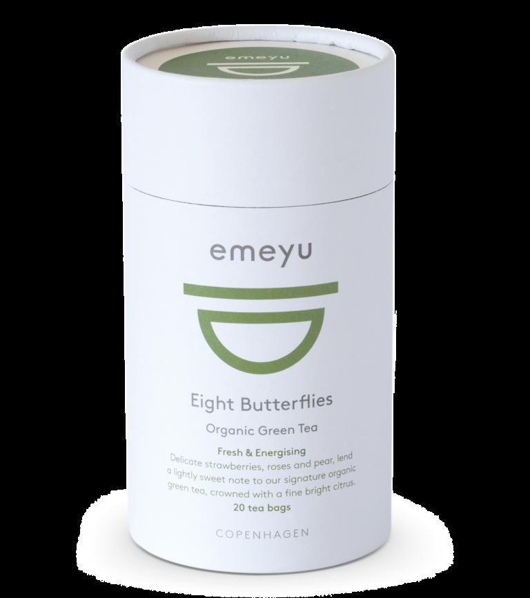 Et rør med 20 teposer, af vores økologiske te, Eight Butterflies.
