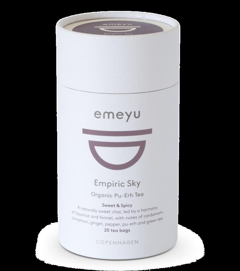 Et rør med 20 teposer, af vores økologiske te, Empiric Sky.