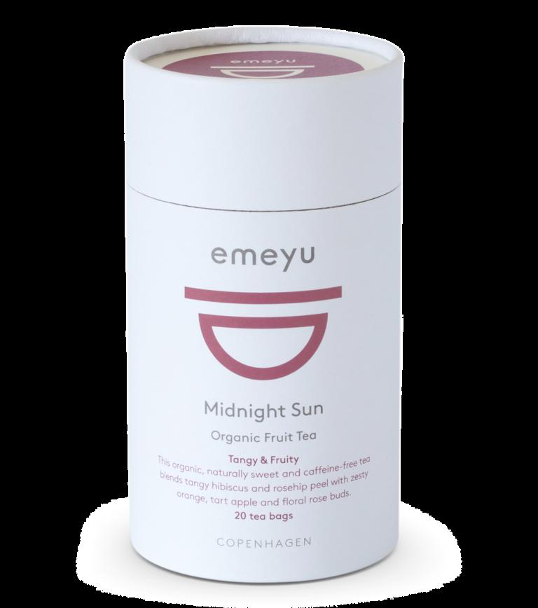 Midnight Sun økologisk frugt te i et Emeyu te rør med 20 bomulds teposer.