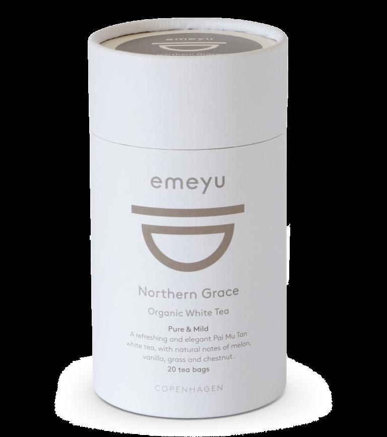 Dette er et billede af et rør med 20 poser økologisk te, i varianten Northern Grace.