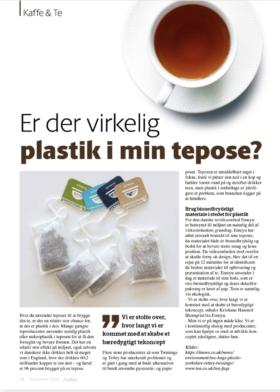 Billede af artikel fra Kaffe & Te, om plastik i teposer.