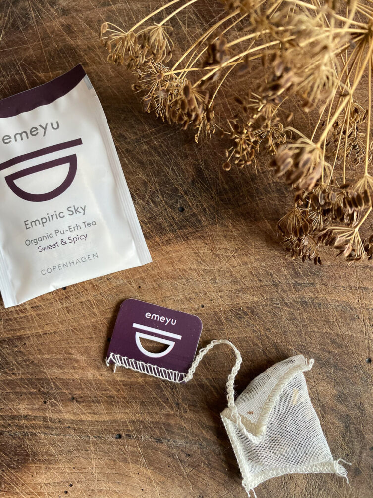 Empiric Sky organic puerh chai tea in tea foil and in cotton teabag