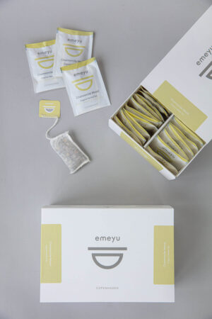 Chamomile Mood, Organic herbal caffeine-free tea with chamomile, lemon balm, lemon verbena, lemongrass, lavender, hops and valerian, caffein-free. 50 hand sewn cotton teabags in an elegant and sustainable box