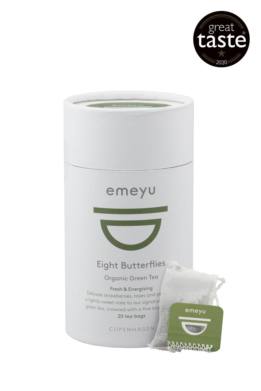 Eight Butterflies er en økologisk og lækker grøn te. Kommer i 20 bomulds teposer individuelt indpakket i cellulose foils. Kommer i 20 stk i bæredygtigt te-rør. Vinder af Great Taste 2020.
