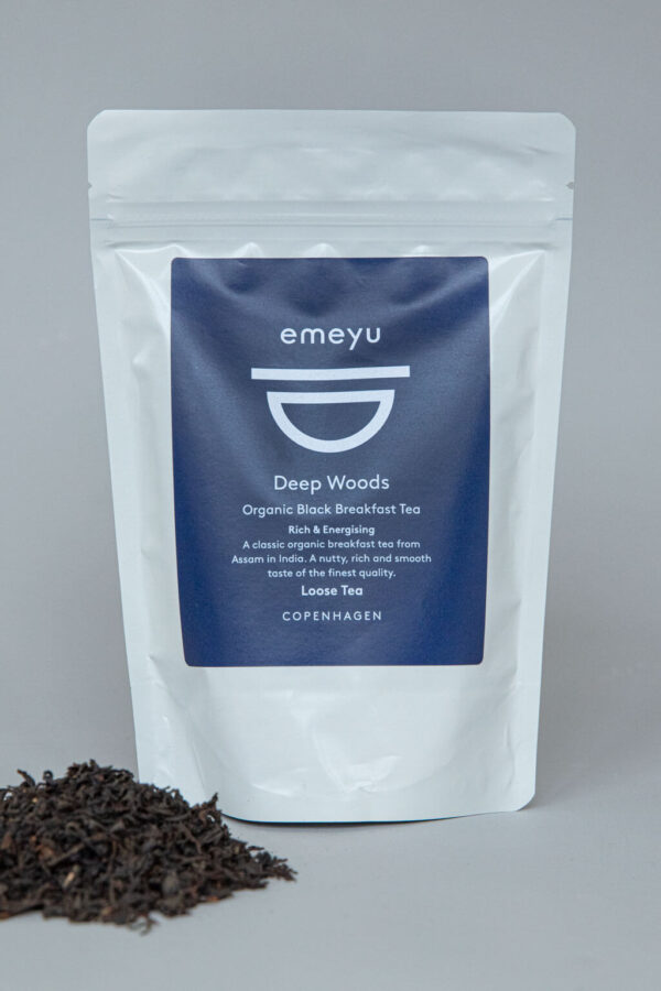 Emeyu's Deep Woods is a classic organic high quality Black Breakfast tea from Assam in India. A rich, smooth taste and energizing with caffeine. Can be taken with or without milk. 80 g loose tea in a resealable and sustainable bag.