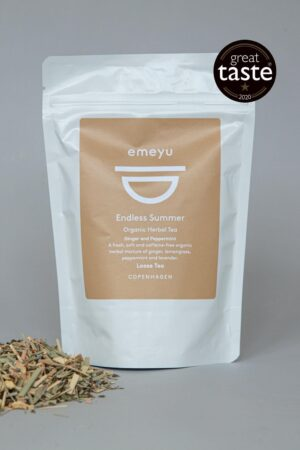 Emeyu's Endless Summer is a cooling and refreshing organic herbal tea with organic ginger, organic peppermint, organic lemongrass, organic lavender caffeine-free herbal tea in 75 g loose weight in sustainable packaging. One of Emeyu's Great Taste 2020 winners. A nice cool and refreshing herbal tea also great as ice-tea.