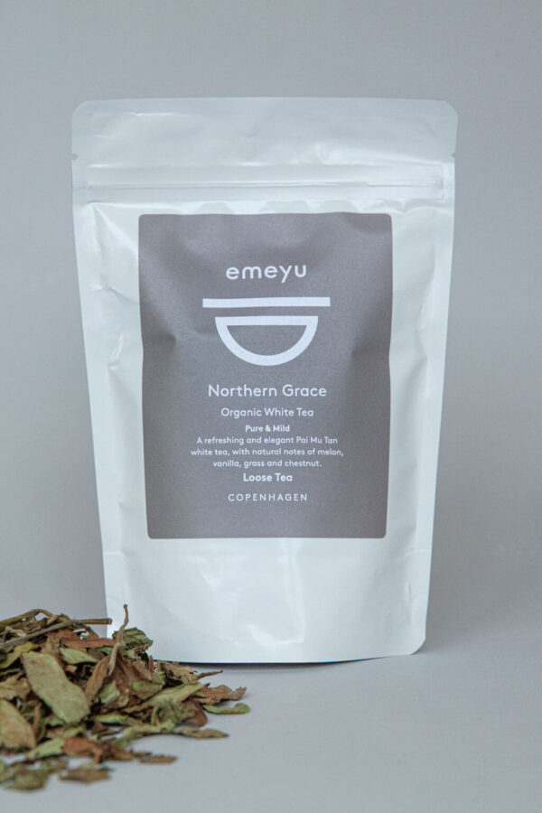 Emeyu's Northern Grace is an organic, whole leaf, high quality, Pai Mu Tan white tea. A pure, mild and elegant tea It is high in antioxidants and low in caffeine; essentially, a tea that nurses you and spoils you in every aspect. 40 grams whole leaves loose tea in a sustainable doypack bag.