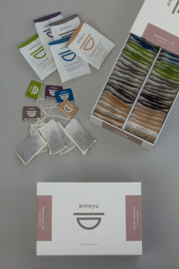 Selection Box is a box of selected organic teas 50 pcs hand sewn cotton teabags in a sustainable bos